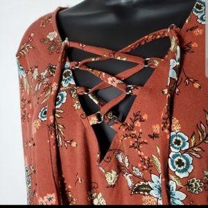 BeBop Dresses - Floral Tie Up Dress